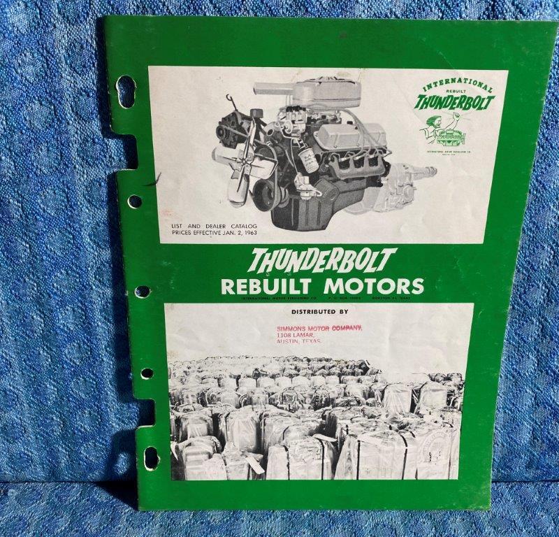 1950-1961 Thunderbolt Rebuilt Motors Catalog Cars & Light Trucks GM Ford Mopar