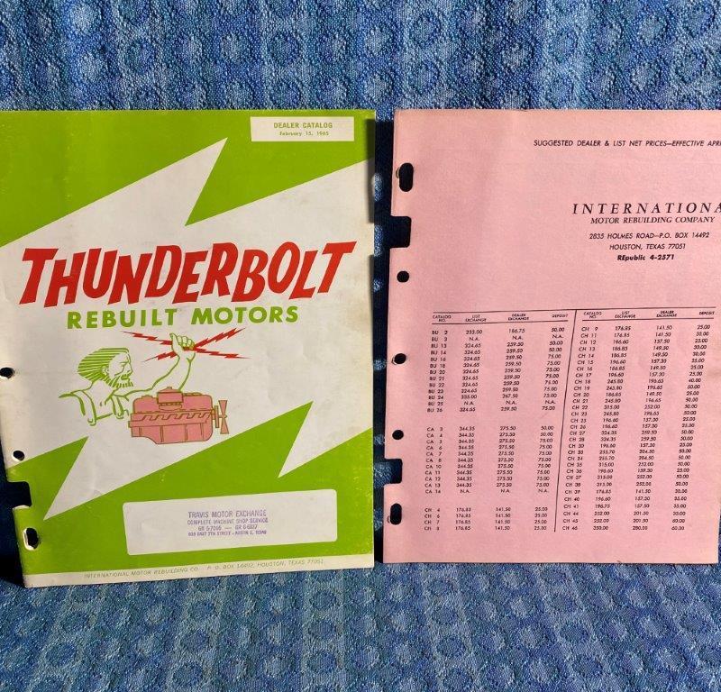 1950-1964 Thunderbolt Rebuilt Motors Catalog Car/Truck w/ Casting Number SEE AD