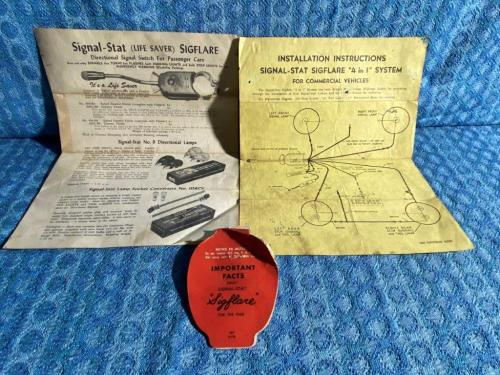 """1950's Signal Stat """"Sigflare"""" Turn Signal Switch Operate & Install Instructions"""