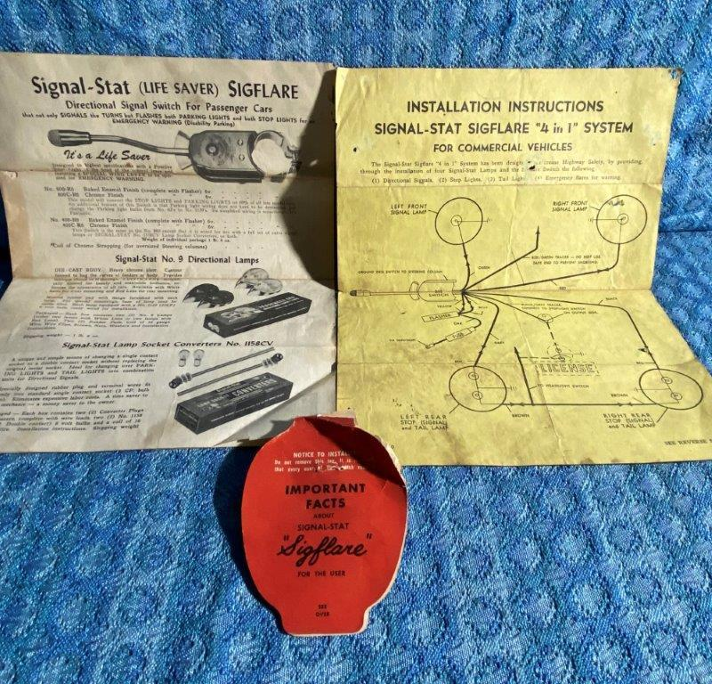 "1950's Signal Stat ""Sigflare"" Turn Signal Switch Operate & Install Instructions"