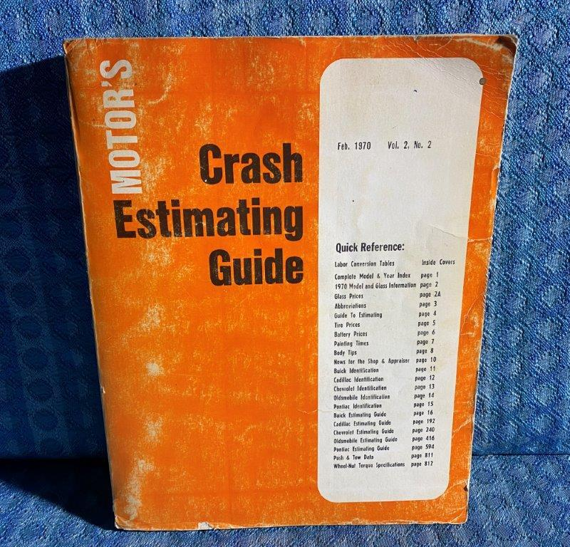 1964-1970 Motor's Crash Estimating Guide Buick Cadillac Chevy Pontiac Olds 66 68