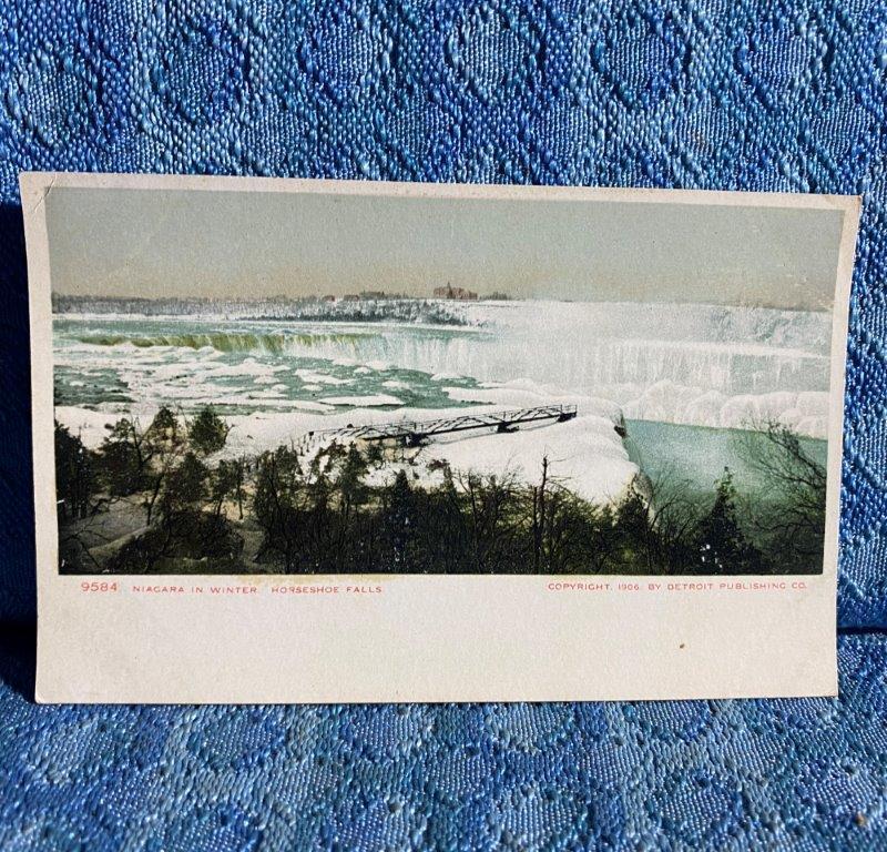 C. 1906 Vintage Postcard Niagara in Winter, Horseshoe Falls - Detroit Publishing