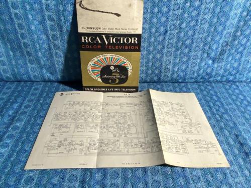 Circa 1960 Original RCA Victor Color Television Sales Folder & Wiring Schematic