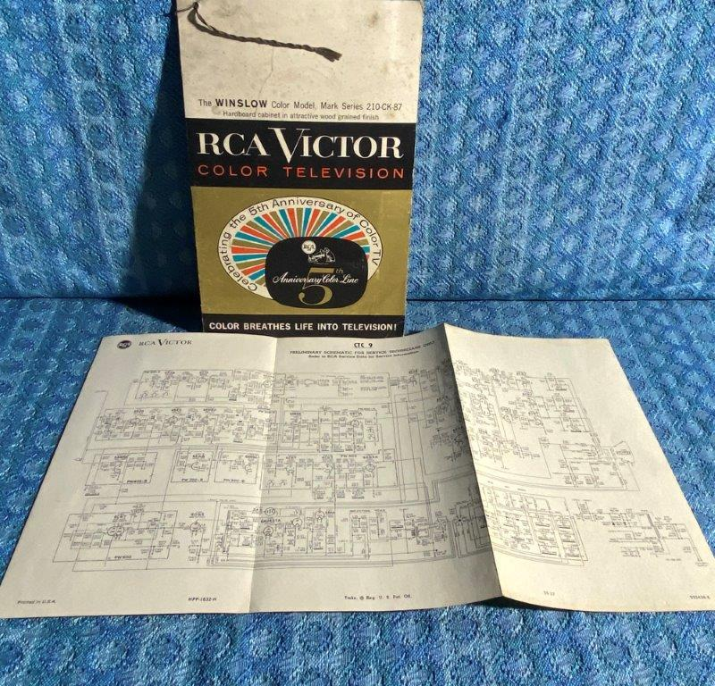 Circa 1960 Original RCA Victor Color Television Sales Folder & Wiring Schematic