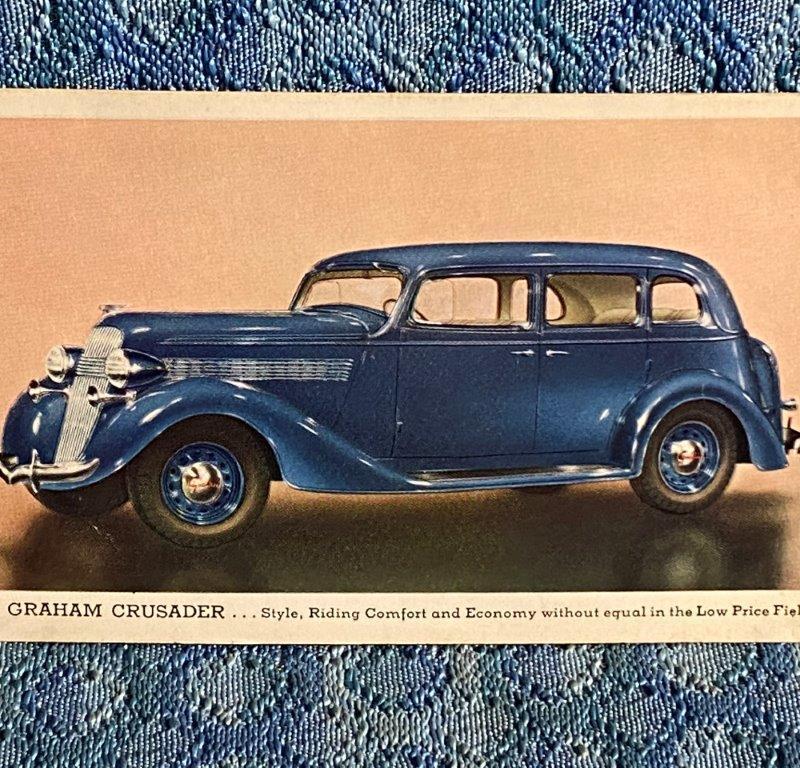 1935 Graham Crusader 4 Door Original Factory / Dealer Color Advertising Postcard