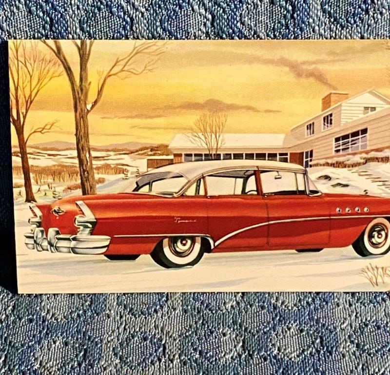 1955 Buick Super Riviera Sedan - Series 52 NOS Factory / Dealer Postcard