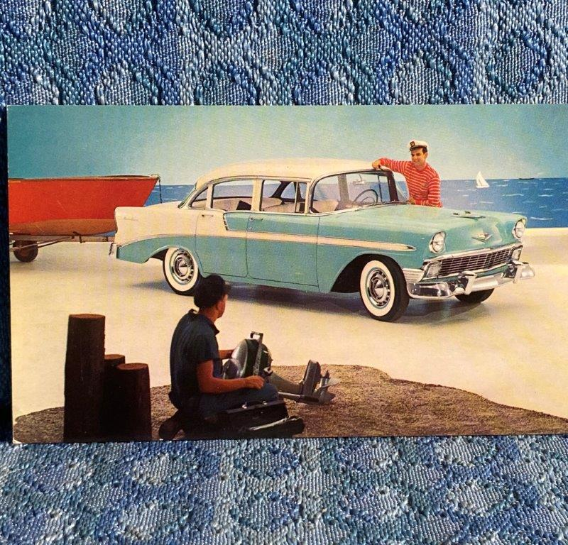 1956 Chevrolet Bel Air 4 Door Sedan Ivory/Green NOS Factory / Dealer Postcard