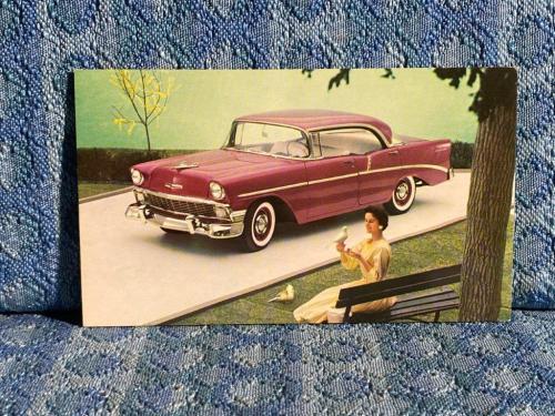 1956 Chevrolet Two-Ten Sport Sedan in Dusk Plum NOS Factory / Dealer Postcard