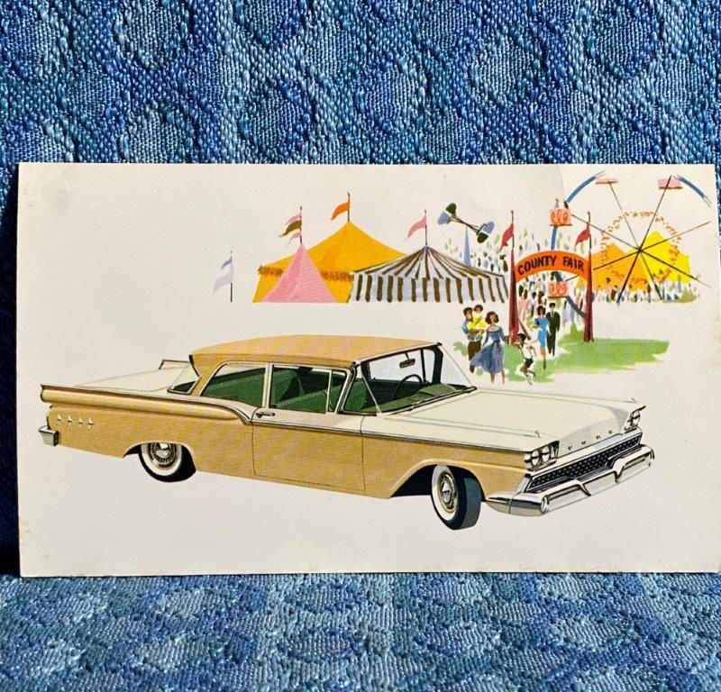 1959 Ford Custom 300 Tudor Sedan Original Factory / Dealer Advertising Postcard