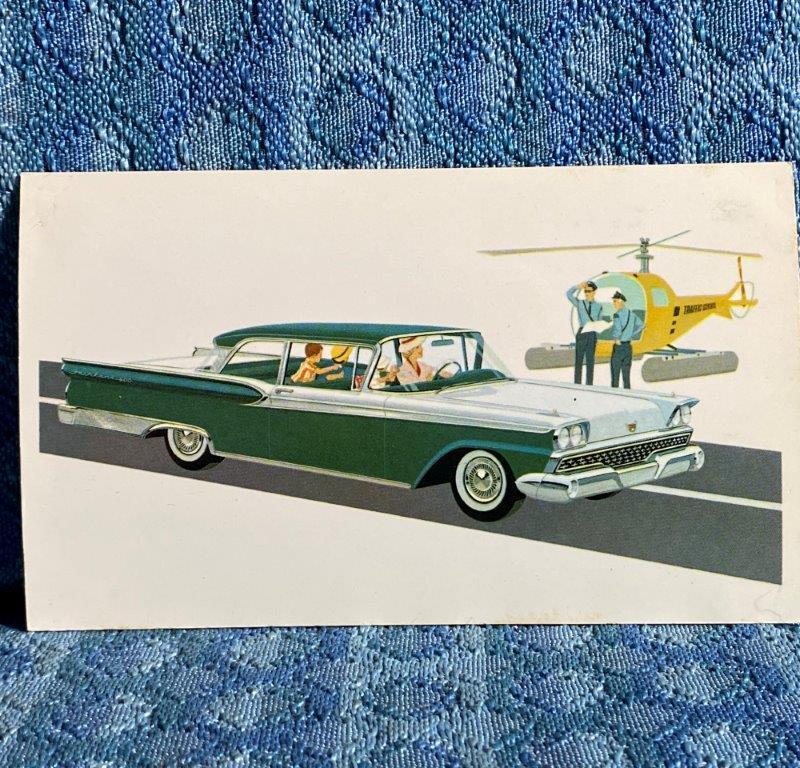1959 Ford Fairlane 500 Club Victoria Orig Factory / Dealer Advertising Postcard