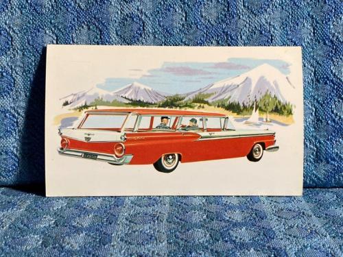 1959 Ford Fordor Country Sedan Original Factory / Dealer Advertising Postcard
