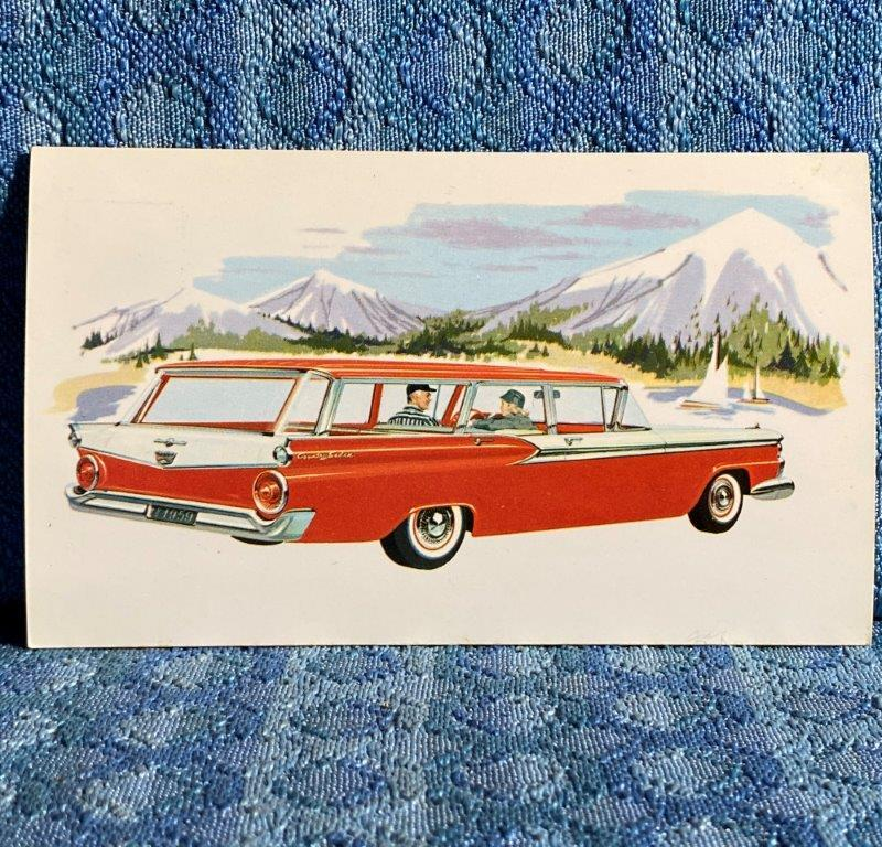 1959 Ford Fordor Country Sedan Original Factory / Dealer Advertising Postcard