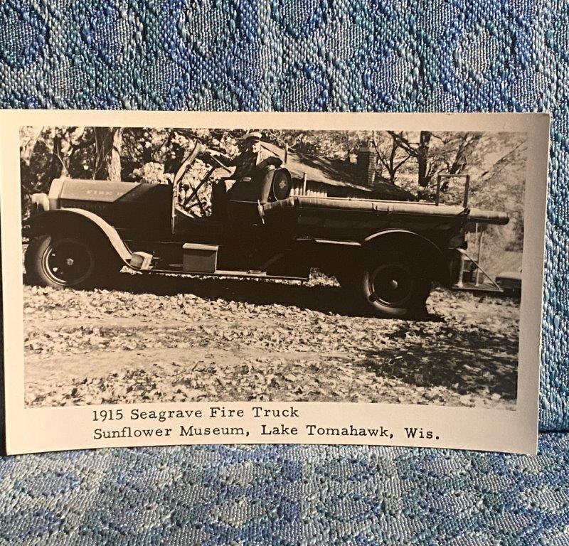 1915 Seagrave Fire Truck 1968 Vintage Postcard Sunflower Museum Lk Tomahawk WI