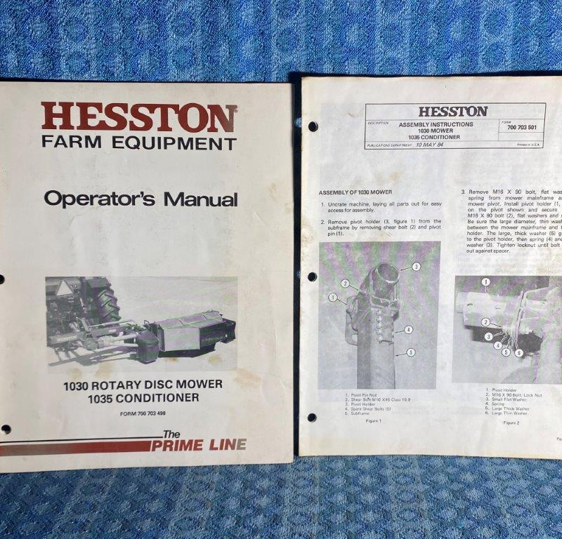Hesston 1091 Rotary Disc Mower 1035 Conditioner OEM Operators Manual & Assy Inst