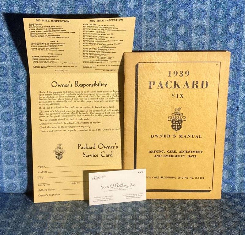 1939 Packard Six Original Owners Manual w/ Service Card & Dealer Biz Card 3 PC's