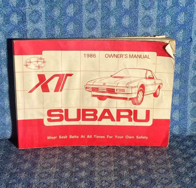 Original Owners Manual for 1986 Sabaru XT