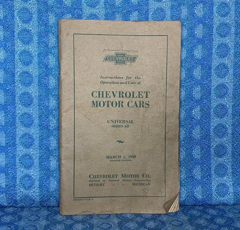 1930 Chevrolet Universal Series AD ORIGINAL Operation, Care & Owners Manual