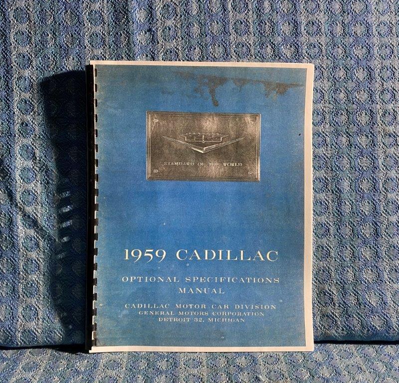 1959 Cadillac Optional Specifications Manual - Reprint DeVille Eldorado