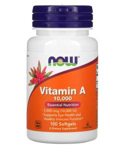 Now Vitamin A 25,000 IU (7,500 mcg), 100 softgels