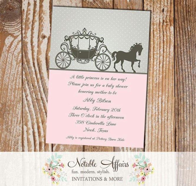 Cinderella Princess Horse Carriage Invitation
