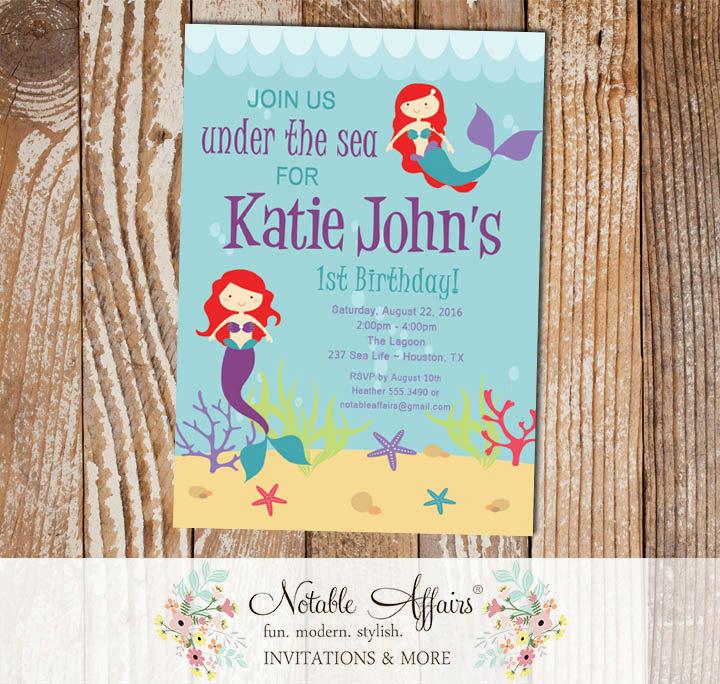 Under The Sea Aquarium Red Hair Little Mermaid Birthday Invitation