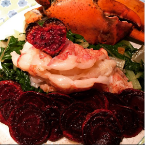 Butter poached sous-vide lobster tail with some roasted beet chips that i made for Valentine's Day