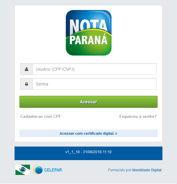 Saldo CPF na Nota Paraná: