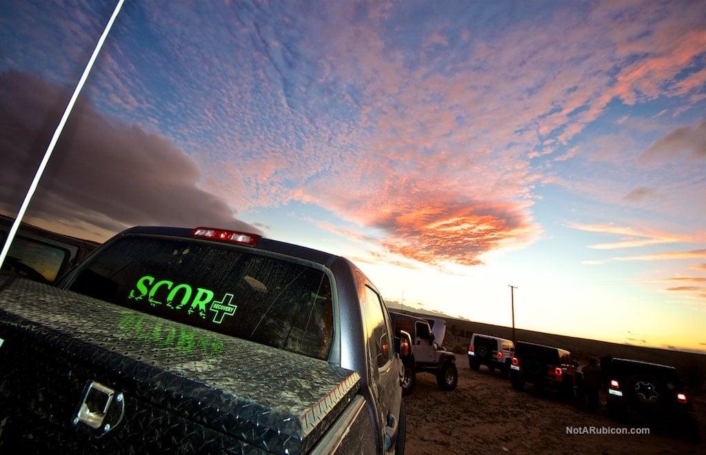 SCOR member's truck at sunset