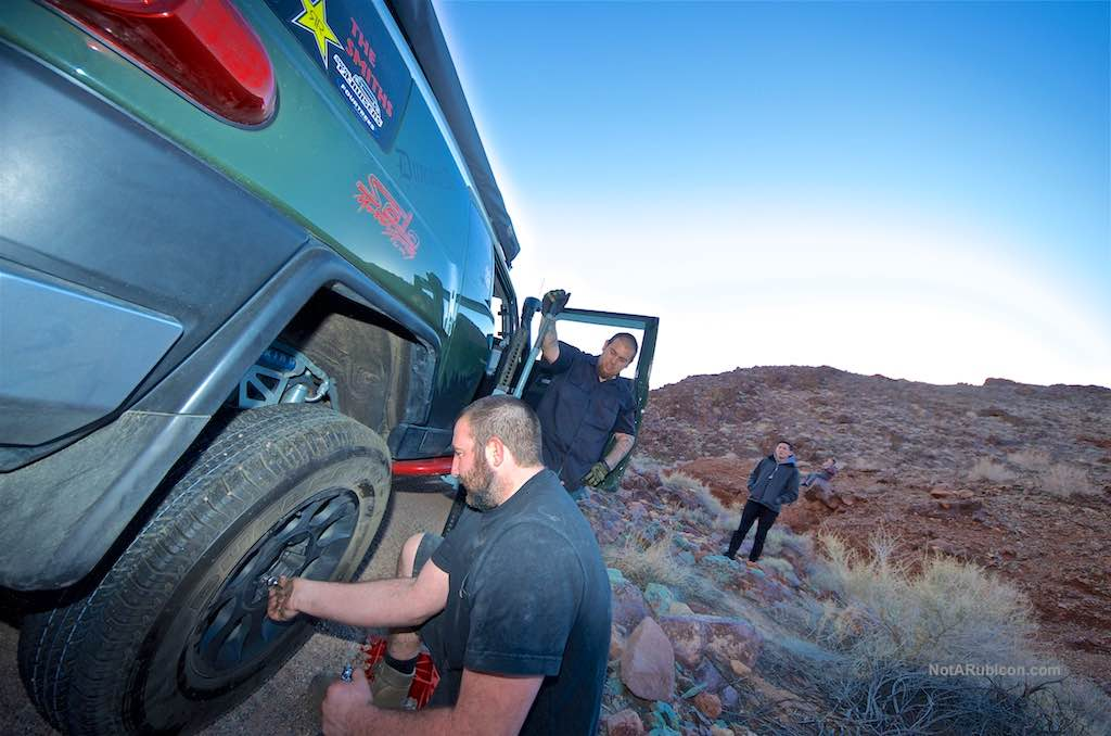 Changing a flat tire on the Calico trails