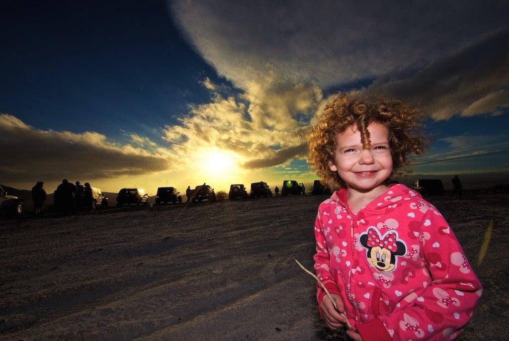Girl at sunset near Oro Granda, CA