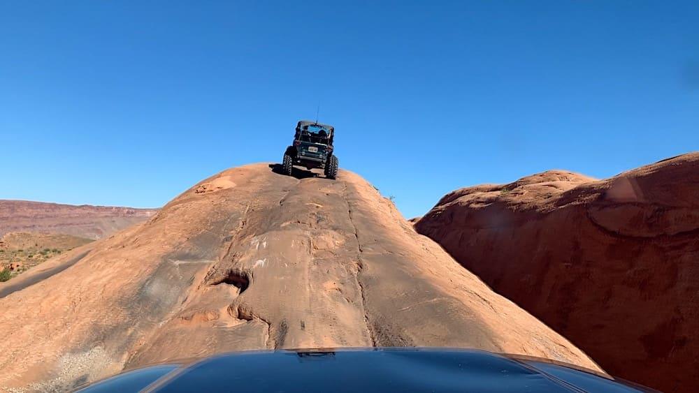 Jeep's-eye view of the Gatekeeper on Hells Revenge in Moab Utah