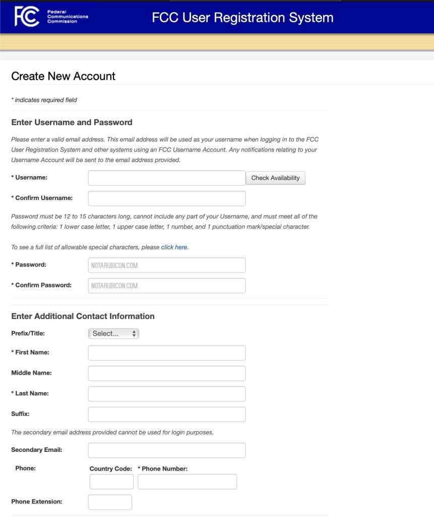 FCC Website registration page