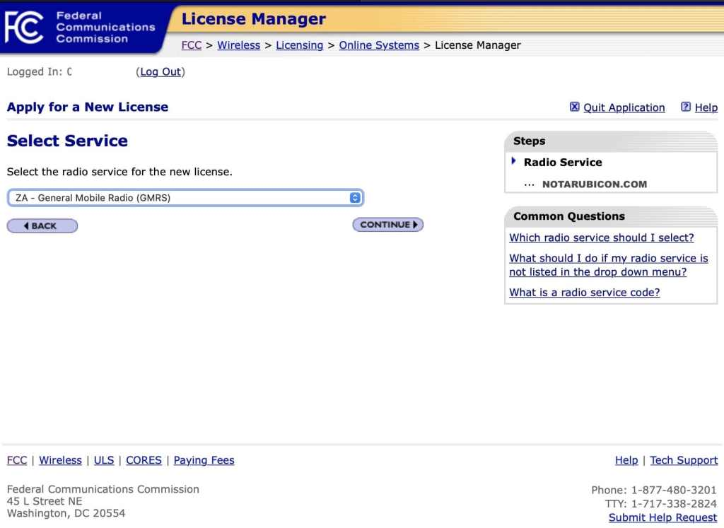 FCC LIcense Manager - Select Service for new license