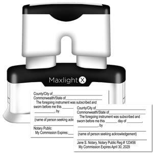 MaxLight X Notary Jurat Stamp
