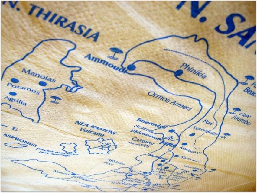 Mapa Santorini en una servilleta