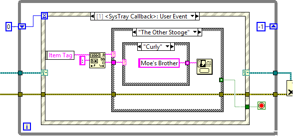 systray callback handler