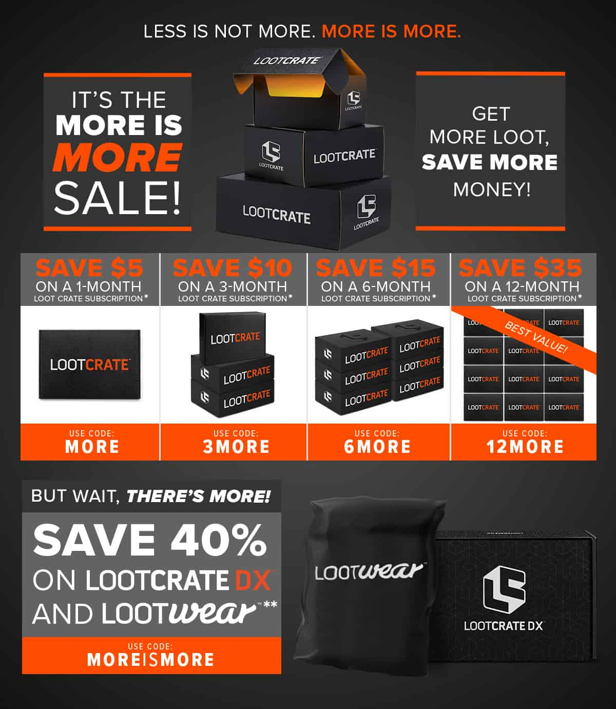 Up to $35 OFF Loot Crate + 40% OFF DX + Wear