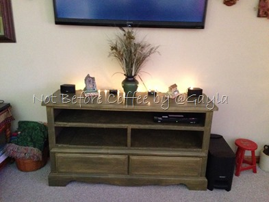 ugly old dresser to entertainment center - after