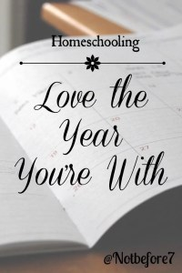 Learn to love the year you are with when your are homeschooling.