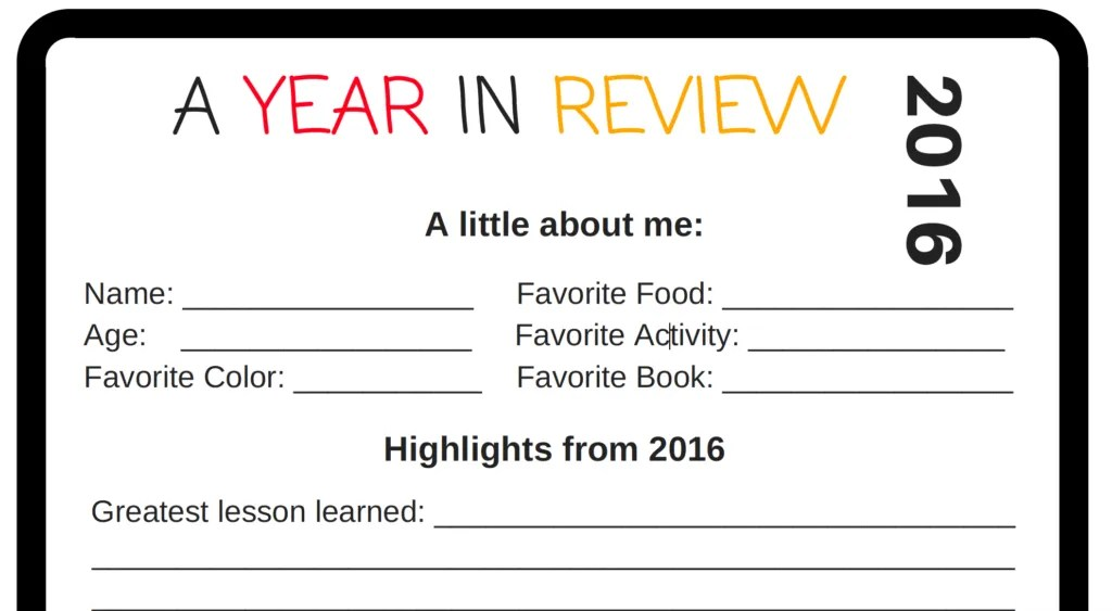 Click for your free download for New Years: A Year in Review