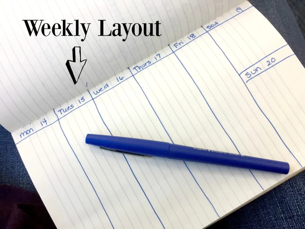 This is a simple design for a basic weekly layout to keep yourself organized in a bullet journal.