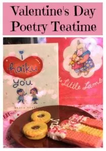 Books, Treats, and ideas for hosting a Valentines Day Poetry Teatime.