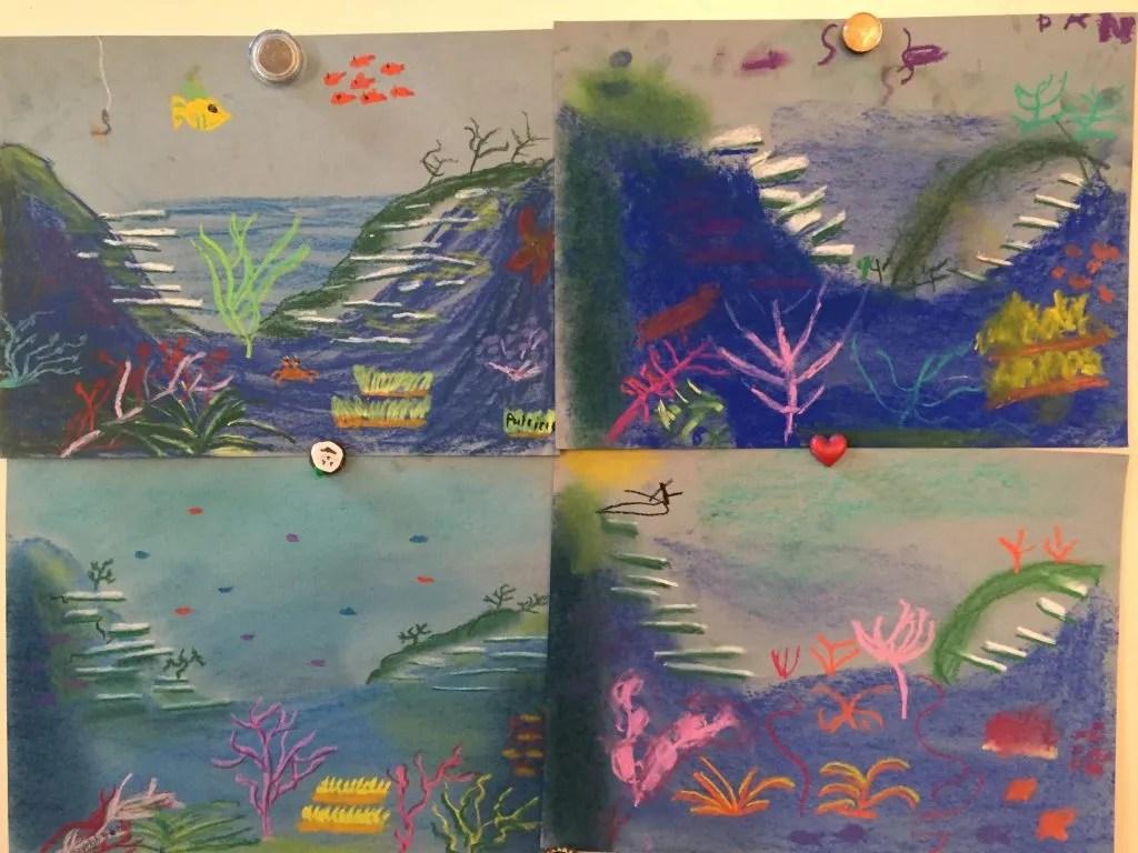 Our Seashore chalk Pastel Video Art Course creations.
