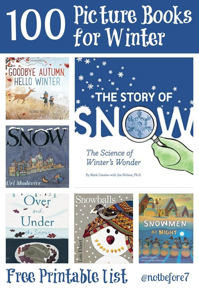 A list of 100 Winter Picture Books to cozy up and read with your babies.