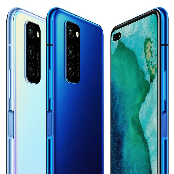 The regular Honor V30 looks identical, but features a slightly slower version of the Kirin 990. (Source: Honor)