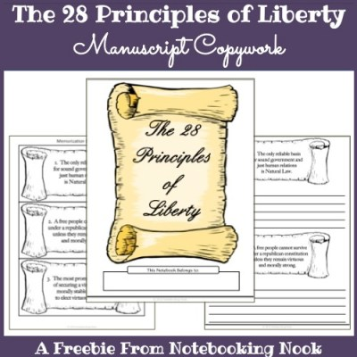 Freebie: The 28 Principles of Liberty - Manuscript Copywork