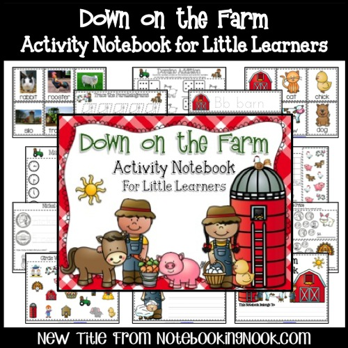New Title: Down on the Farm Activity Notebook for Little Learners - Intro Price Only $1.99