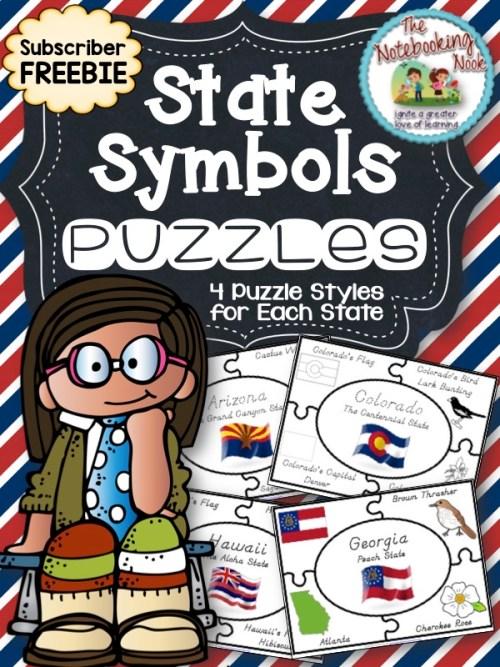 Subscriber Freebie - State Symbols Puzzles