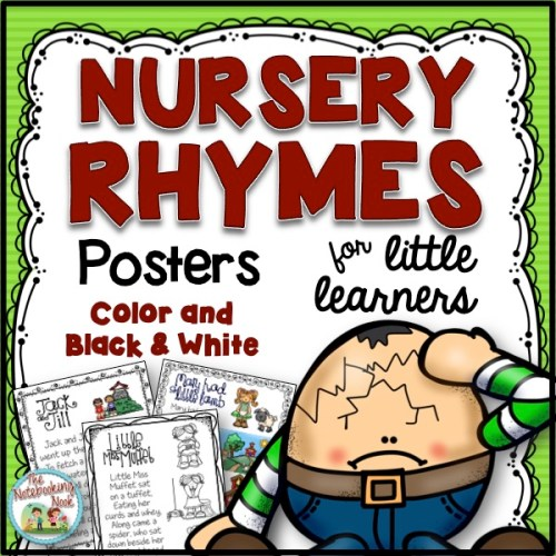 Nursery Rhymes Posters includes 9 rhymes in both color and black & white, with full text on each poster and illustrations! Hooray!