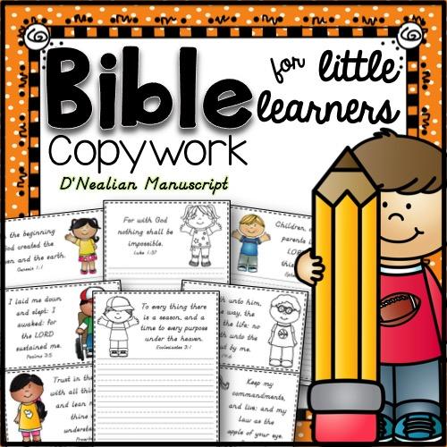 Bible Copywork for Little Learners - D'Nealian Manuscript